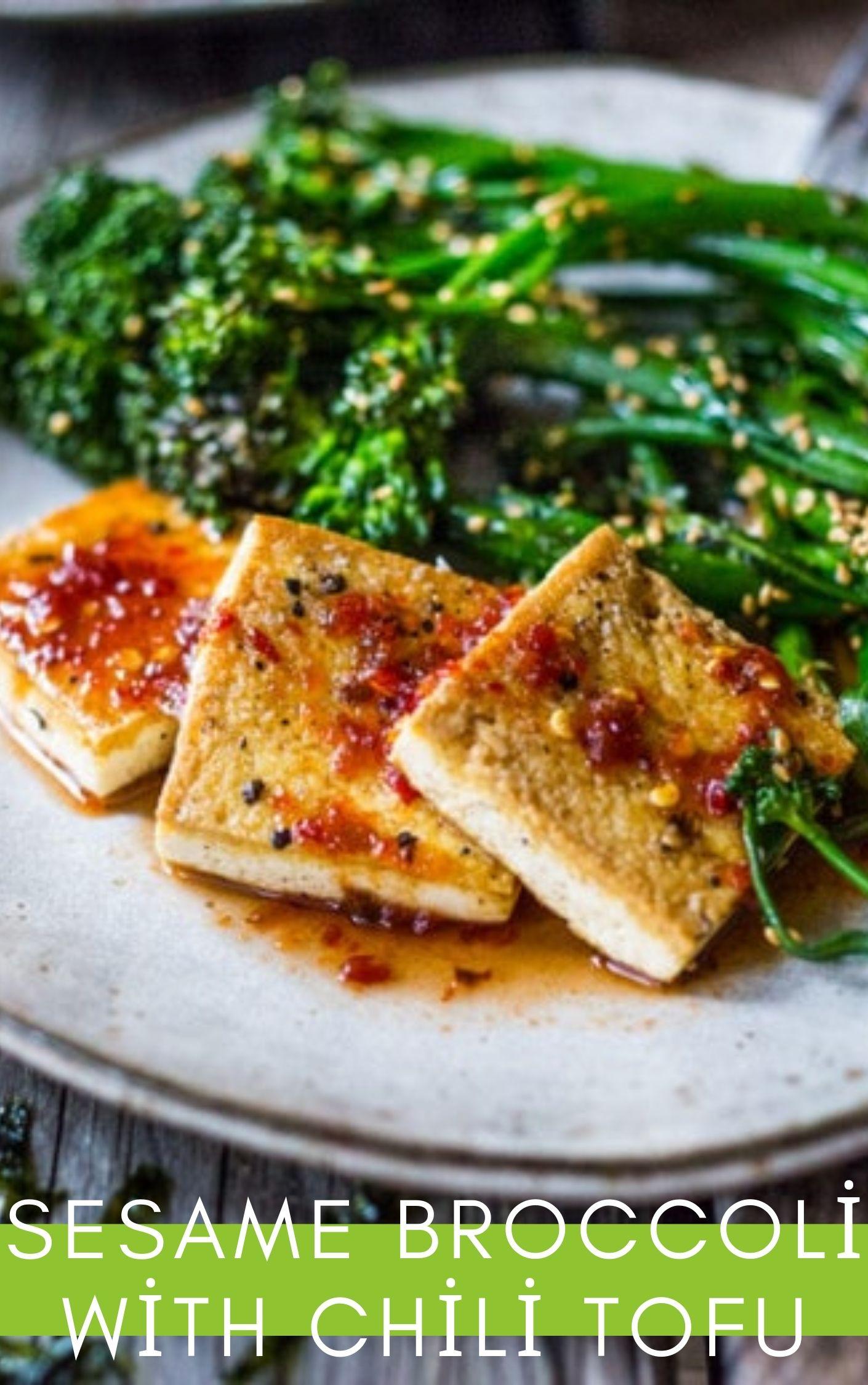 sesame broccoli with chili tofu