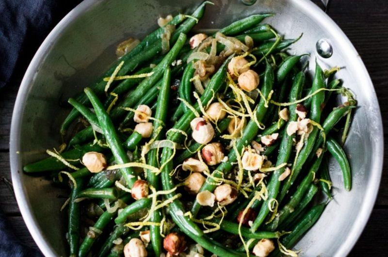 vegan green beans with lemon zest & hazelnuts