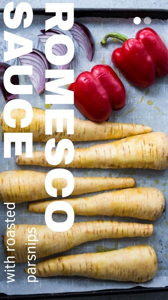 romesco sauce with roasted parsnips
