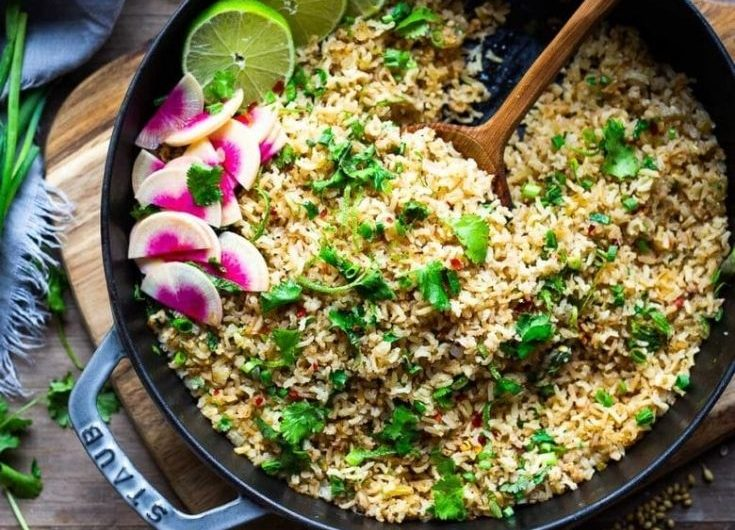 vegan rice with cilantro and lime